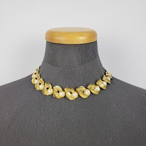 Vintage Gold Pearl Necklace